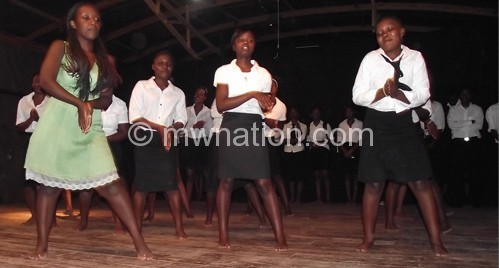 The students captured in action at Nanzikambe Arts Threatre