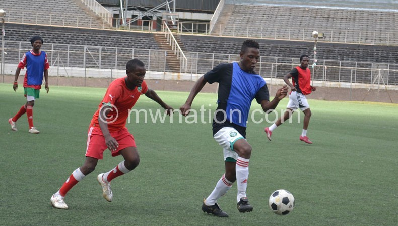 Captured training yesterday: (L-R) George Nyirenda, James Chilapondwa, Victor Limbani and Henry Kabichi