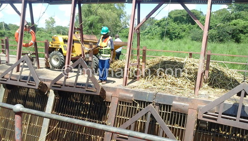 The Weed Harverster harvesting weed and debris in Shire River