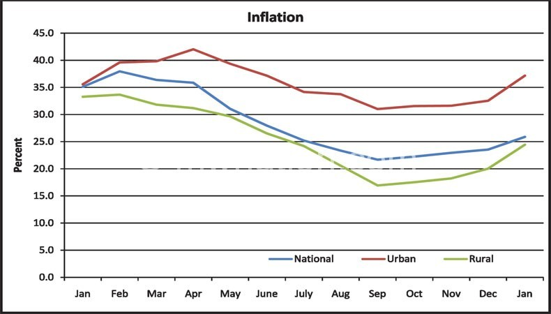 Graph showing Malawi's inflation movement