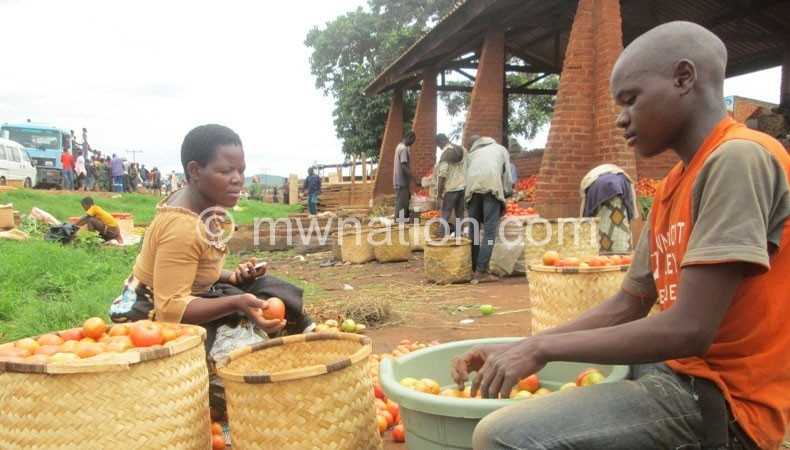 Tomato has huge potential: A woman and her son sort tomatoes at Jenda Market