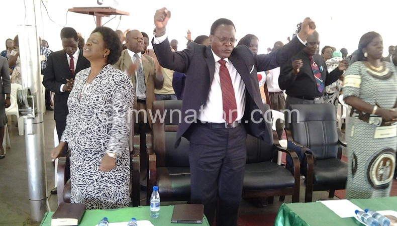 Chakwera and his wife during the church service
