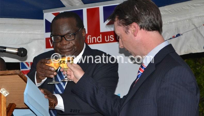 British enoy to Malawi Nevin (R) and Goodall Gondwe