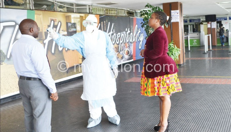 Travellers being screened for Ebola at Kamuzu International Airport