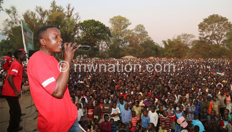 Mlaka Maliro takes his turn on the platform during the Zomba show