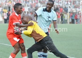 Silver goalskeeper Blessing Kameza was shown a yellow card after headbutting Mussa Manyenje