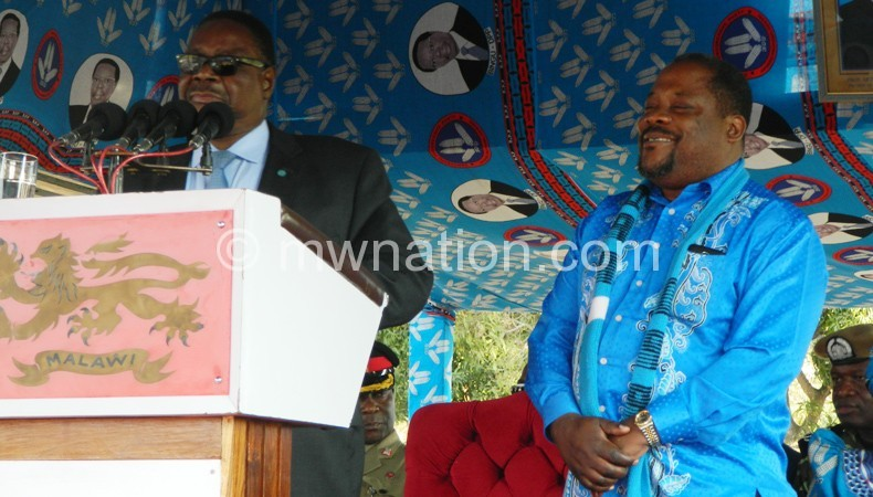 Mutharika (L) and Chibingu at the rally on Sunday