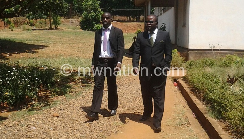 Mphwiyo (L) outside the court yesterday