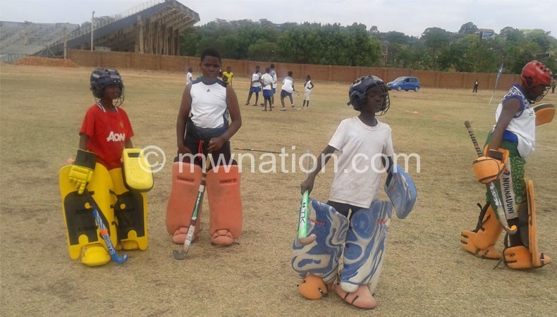 Some of the youngsters train at the hockey stadium in Blantyre