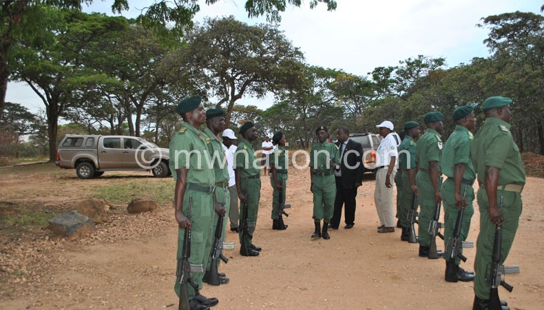 Officers line up for Nankhumwa during a visit