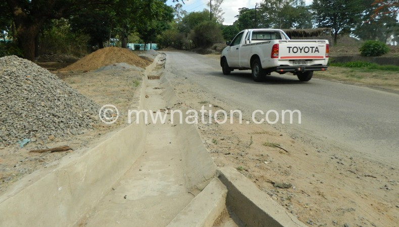 One of the 'completed' projects: The drain along the road to BWB head office