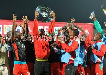 Malawi players celebrate 2015 Cosafa Cup Plate Finals match between Zambia and Malawi at Royal Bafokeng Stadium, Rustenburg on the 29 May 2015  ©Muzi Ntombela/BackpagePix