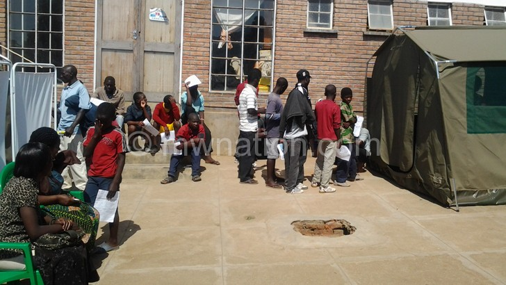 Clients waiting for their turn at a circumcision centre