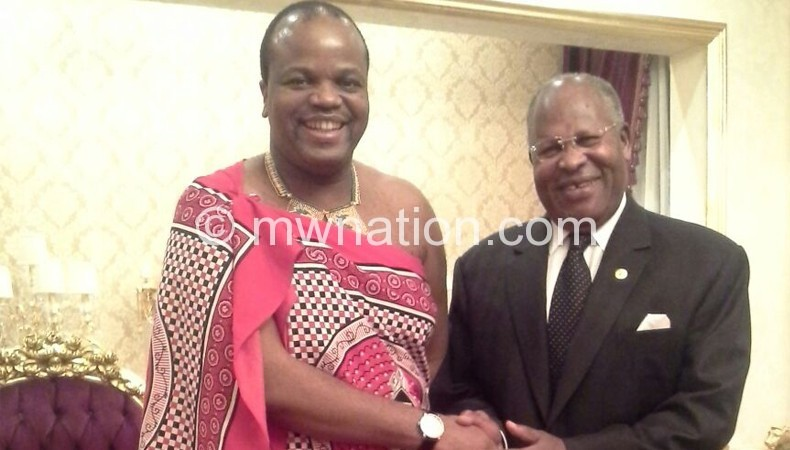 Muluzi with King Mswati during his recent mission in Swaziland