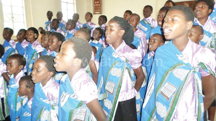Limbe CCAP Sunday School Choir give their all during the finals