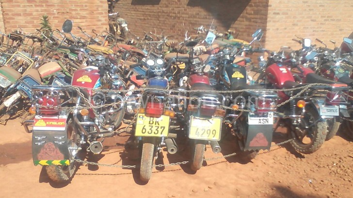 Some of the impounded motorcycles at Mzuzu Police Station