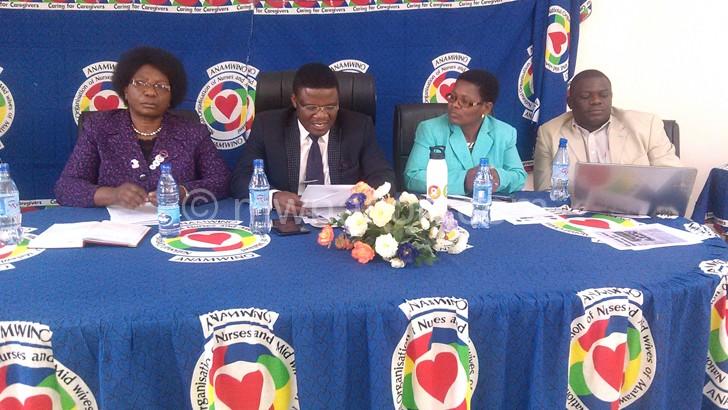 (L-R) Ngoma, Pontius Kalichero of MCTU, Kwataine and Robert  Mkwezalamba  address the media on Wednesday