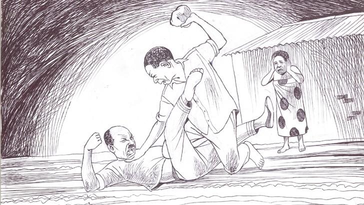 An artist's impression of a brawl