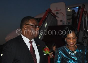 The Mutharikas on arrival in China