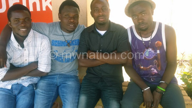 The four members that resigned from the band pictured in Mzuzu
