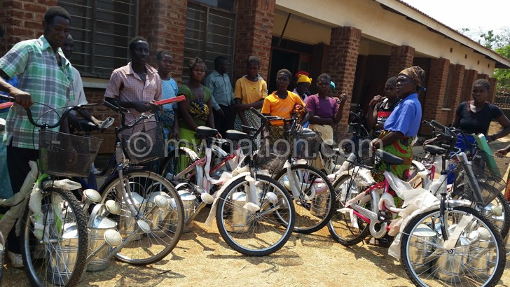Some of the Childcare Givers with their bicycles and watering cans