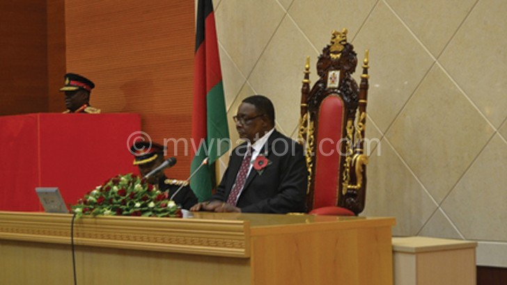 Mutharika addressing Parliament during a previous meeting