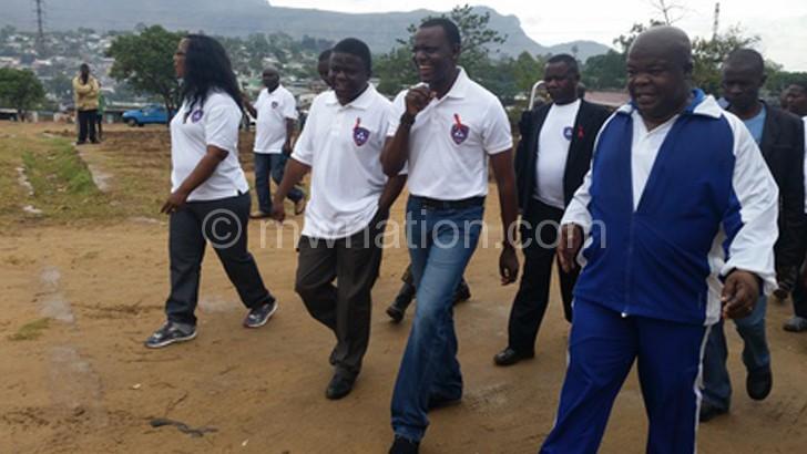Kumpalume, Kasaila and Blantyre Malabada member of Parliament  Aaron Sangala lead the awareness march