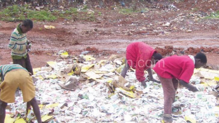 Children scavenging at the dump site in Mzuzu