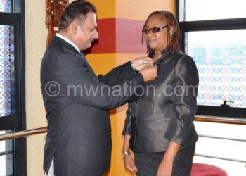 Bheda(L) inducting  Banda as a Rotarian
