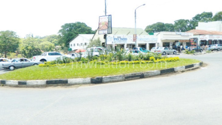 A beautified roundabout in Blantyre
