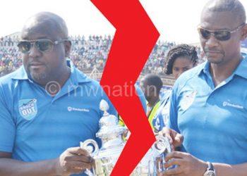 Good old days: Nyamilandu (R) and Standard Bank CEO  Andrew Mashanda parade the cup