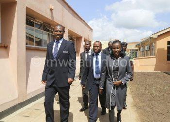 Nyamilandu (R) guiding Sports Minister Grace Chiumia during Mpira House tour