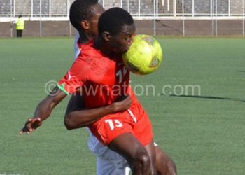 Malawi (in red) in action againast DR Congo in Afcon Under-20