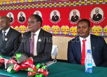 Shela (C) flanked by Soko (R) and Mvula after the election
