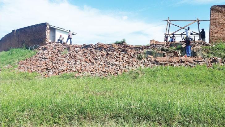 Part of Mzuzu Stadium wall that has collapsed