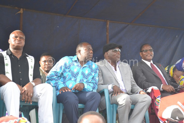 From L to R: Nnensa, Chihana, Speaker of Parliament Richard Msowoya and Chakwera at the rally