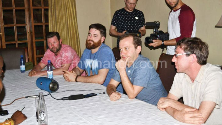 The UK producers (L-R), Predley, Aggett, Wood and Lobley during  a press conference in Lilongwe