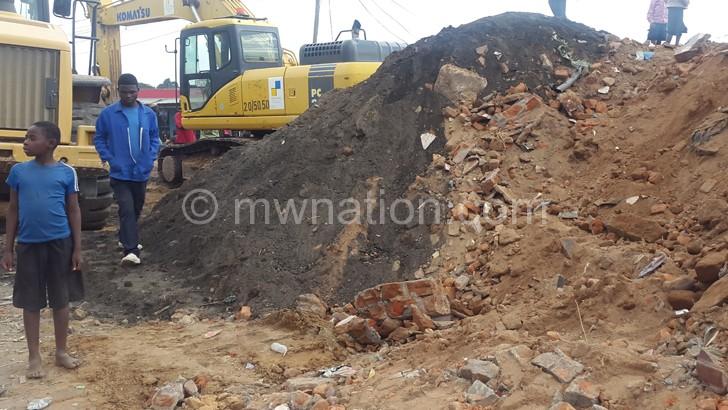 The demolition in progress