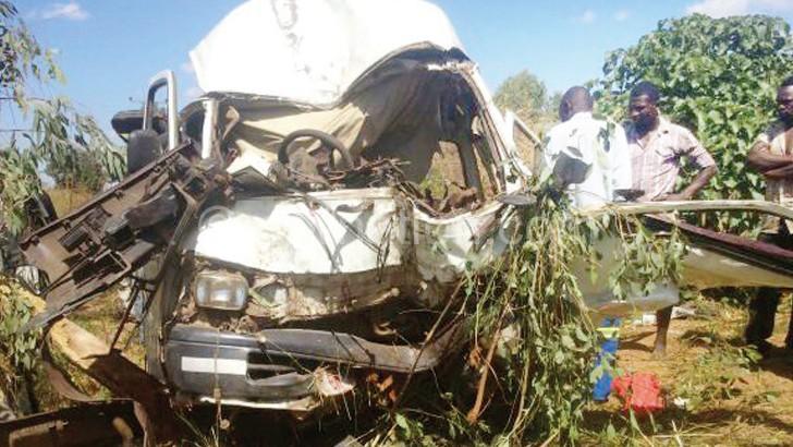 The mangled wreck of the minibus involved at Ludzi Turn-off in Mchinji