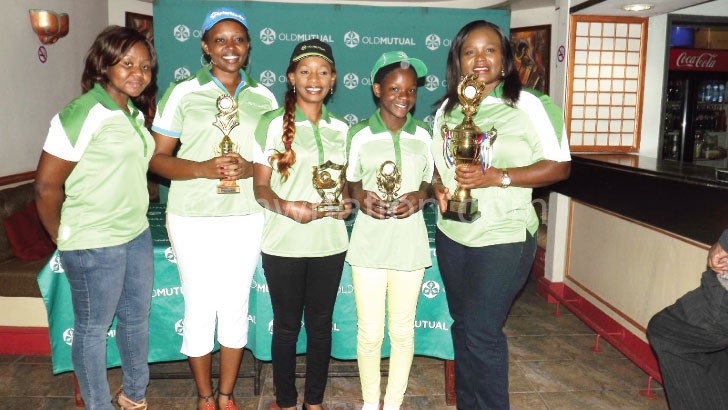 Chatsika (L) poses with the winners