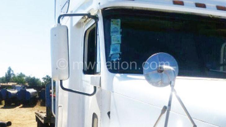 A truck whose driver escaped an attack