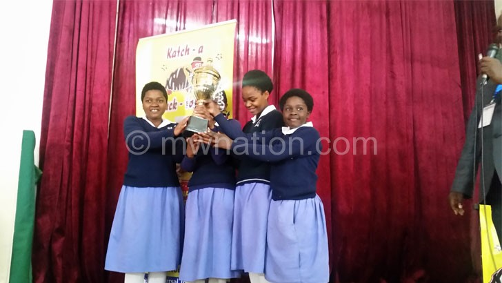 Winners: Our Lady of Wisdom Girls Catholic Private Secondary school students showing off their trophy