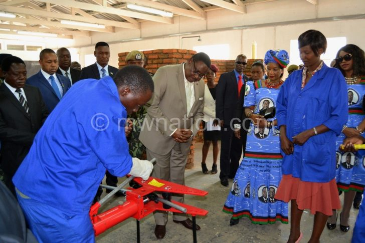 Shattering no-go zones: Mutharika with trainees at Community College