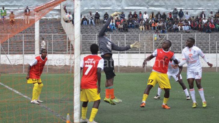 Zakazaka (R) scores the first goal for Nomads