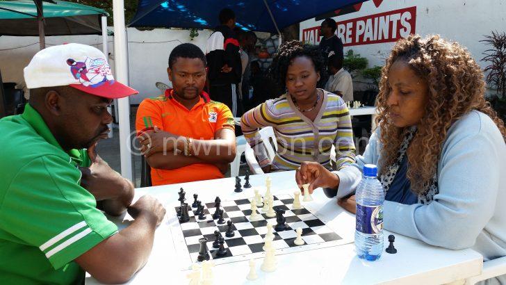 Seeded Ngugama (R) playing against John Mkumba at Steers on Saturday
