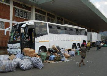 Cross-border traders sorting their goods at Mwanza Border Post