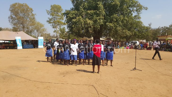 Girls perform during World Population Day commemoration on Friday