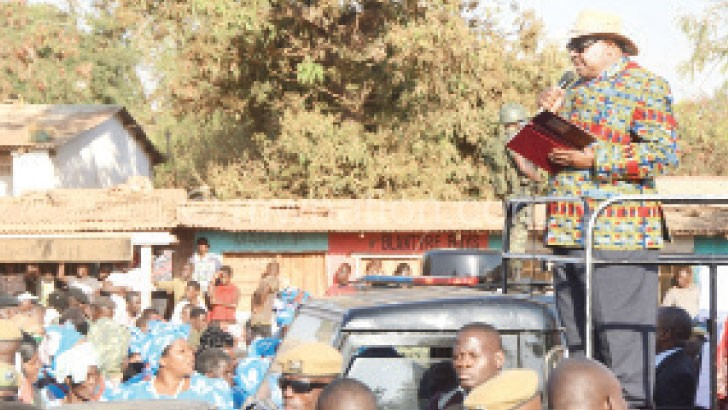Mutharika addresses a gathering during the whistle-stop tour