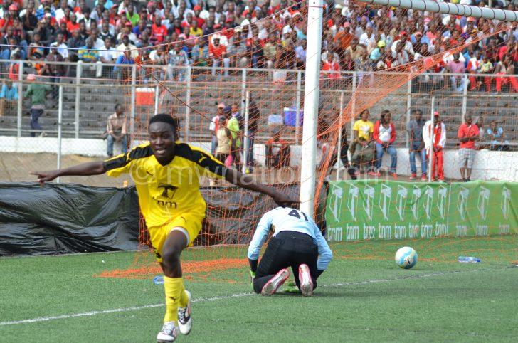 Phiri celebrates scoring for Tigers