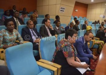 Diplomats listen to the budget presentation